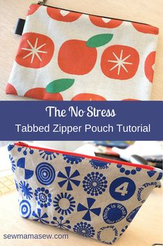 The No-Stress Tabbed Zipper Pouch Tutorial (2 options) -- Sew Mama Sew