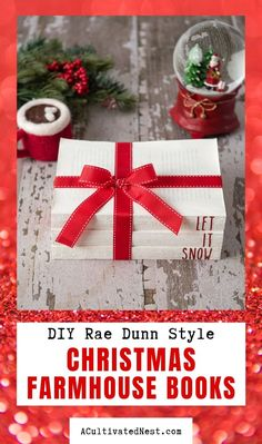 DIY Rae Dunn Christmas Farmhouse Books- These charming and rustic DIY Rae Dunn Christmas farmhouse books will add a lovely touch to your holiday decor! Plus, they're easy to make with a Cricut or Silhouette! | #diyProject #Christmas #raeDunn #Cricut #ACultivatedNest