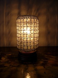 Crocheted jar lamp
