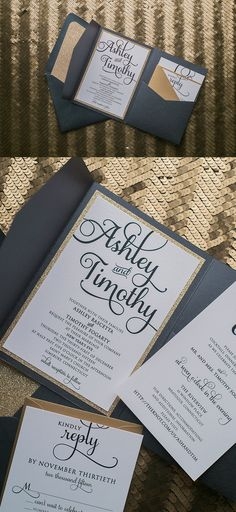 Fabulous Black and Gold Pocket Luxury Wedding Invitations by Just Invite Me