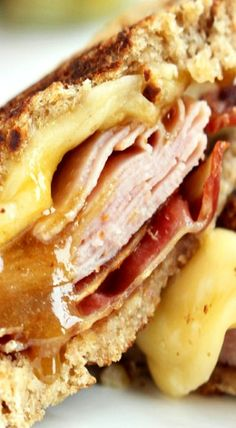 Bacon and Ham Grilled Cheese with Brown Sugar Mustard