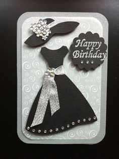 Blingy Birthday dress Card and Cricut Forever Young Birthday Cards For Women, Handmade Birthday Cards, Happy Birthday Cards, Cricut Birthday Cards, Card Birthday, Diy Birthday, Handmade Greetings, Greeting Cards Handmade, Cricut Cards