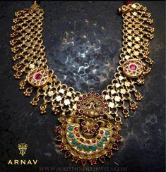 Beautiful gold antique necklace model arnav