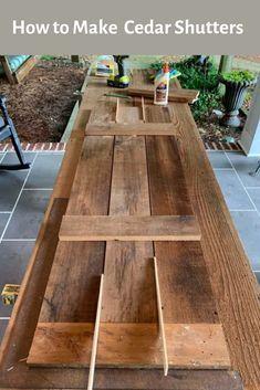 How to Make Cedar Shutters Outdoor Shutters, Cedar Shutters, Farmhouse Shutters, Wood Shutters, Cedar Siding, Window Shutters Exterior, Custom Shutters, House Paint Exterior, Exterior Paint Colors