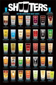 Shooters, A list of Alcoholic shots