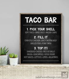 Chalkboard Taco Bar Sign / Tacos Sign / Rustic Chalkboard, Whimsical Arrow, Heart, Chalk Lettering ▷ Printable File {or} Printed & Shipped by JadeForestDesign on Etsy