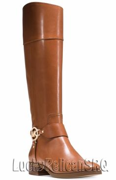 Michael Kors Fulton Wide-Calf MK-Logo Harness  Riding Boots Luggage Brown NWB #MichaelKors #Boots