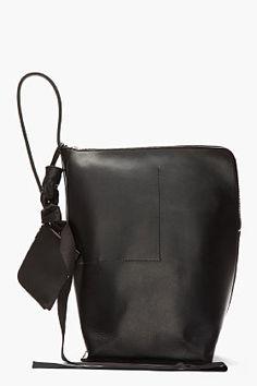 RICK OWENS Black Triangular Leather New Bucket Bag