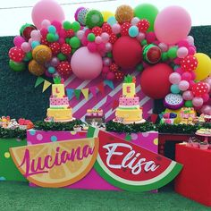 A fabulous tutti frutti party Watermelon Birthday Parties, Fruit Birthday, 2nd Birthday Party Themes, Second Birthday Ideas, Girl 2nd Birthday, Fruit Party, Birthday Party Decorations, Watermelon Party Decorations, Flamingo Party