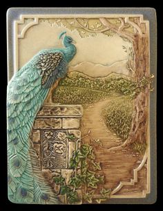 Art tile, Peacock, animal art, wall decor, wall sculpture, Standing on Shoulders, 6in. x 8in.