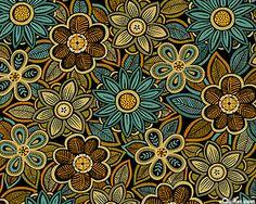 eQuilter Casablanca - Block Print Garden - Black