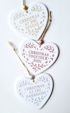 Handmade from clay with choice of metallic finish Personalised Christmas Decorations, Heart Ornament, Family Christmas, Metallic, Clay, Ceramics, Ornaments, Handmade, Clays