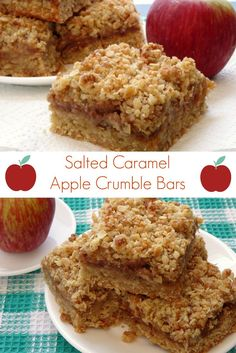 Salted Caramel Apple Crumble Bars Recipe - a delicious fall dessert everyone will love. The bottom layer and crumb topping are made from the same mixture, making this dessert really easy to make!   www.pinkrecipebox.com