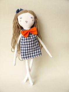 Jara - cloth doll orange bow  Handmade rag doll Plush toy