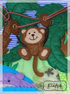 monkey slides and swings on his vine on the quiet book page by Leather Side изделия из кожи: quiet book Diy Quiet Books, Baby Quiet Book, Felt Quiet Books, Book Crafts, Felt Crafts, Quiet Book Patterns, Fidget Quilt, Book Quilt, Busy Book