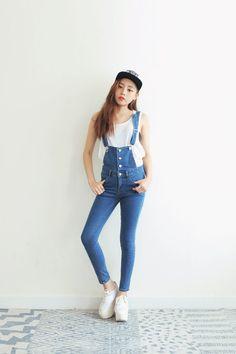 Four-Button Suspender Skinny Pants | FashionShop【STYLENANDA】