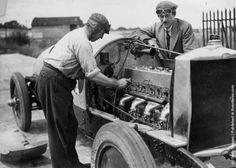 Racing driver J. G. Parry Thomas tuning his car at the Brooklands ...