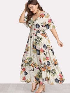 online shopping for Romwe Romwe Women's Plus Size Floral Print Buttons Short Sleeve V Neck Flare Flowy Maxi Dress from top store. See new offer for Romwe Romwe Women's Plus Size Floral Print Buttons Short Sleeve V Neck Flare Flowy Maxi Dress Plus Size Gowns, Plus Size Maxi Dresses, Modest Dresses, Cheap Dresses, Plus Size Outfits, Short Dresses, Fall Dresses, Formal Dresses, Hippie Dresses