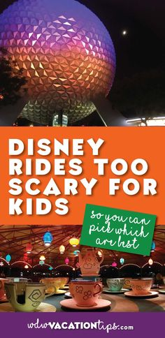 Great list if you are worried about some rides at Disney World be too scary for your kids. Breaks down every attraction that could be scary for a kid. Disney World Rides, Disney World Resorts, Disney Vacations, Disney Parks, Walt Disney, Disney Travel, Family Vacations, Dream Vacations, Disney World Vacation Planning