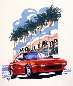 """""""Toyota MR2 Hollywood Hills"""" by Garth Glazier, Troy // Toyota MR2 Hollywood Hills is a personal painting airbrushed in gouache on illustration board featuring the 1984 mid-engine sports car. // Imagekind.com -- Buy stunning, museum-quality fine art prints, framed prints, and canvas prints directly from independent working artists and photographers."""
