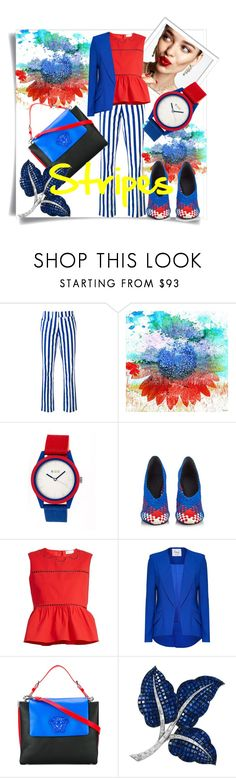 """Stripes"" by zhanin ❤ liked on Polyvore featuring KAROLINA, Dondup, Parvez Taj, Crayo, Alexander Wang, RED Valentino, Hebe Studio, Versace and Van Cleef & Arpels"