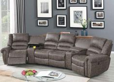 """5 pc Breese collette taupe palomino fabric power motion theater sectional sofa with recliners. Features Left arm power recliner with USB power plug , right arm power recliner with USB power plug, 2 console wedges and center armless non-power double reclining loveseat. Sectional as shown measures 138"""" x 38"""" D X 40"""" H. Some assembly required. Sectional Sofa With Recliner, Couch, Find A Room, Living Area, Living Room, Make A Choice, Power Recliners, Palomino, Sofa Set"""