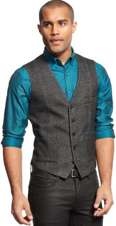 Inc international concepts Tweed Vest in Gray for Men (Charcoal)
