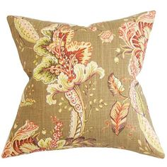 Eluned Brown 18 x 18 Floral Throw Pillow