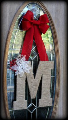 Christmas Winter Custom Monogrammed Initial Door Wreath Hanger- twine wrapped, burlap bow, pinecones/berries or snowflakes/poinsettias
