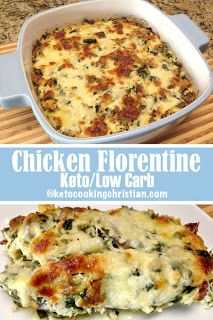 Chicken Florentine Casserole - Keto and Low Carb Shredded chicken, mushrooms and spinach are baked in an Alfredo type sauce and topped with gooey mozzarella cheese. Familar ingredients and so easy to make! My Keto Diet ❤️ Healthy Low Carb Recipes, Low Carb Dinner Recipes, Ketogenic Recipes, Low Carb Keto, Keto Recipes, Cooking Recipes, Ketogenic Diet, Dessert Recipes, Breakfast Recipes