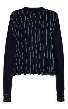 Longsleeve Tunic With Wavy Stitch In Navy by 3.1 Phillip Lim - Moda Operandi