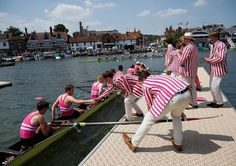 Pink Stripes: Students at the Abingdon School, an all-boys school in Oxfordshire, crewing in The Henley Royal Regatta, Oxfordshire, England.