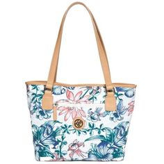 Kim Rogers Blue Multi Tropical Flower Canvas Tote ($42) ❤ liked on Polyvore featuring bags, handbags, tote bags, blue multi, white tote bag, tote handbags, blue purse, white purse and canvas tote