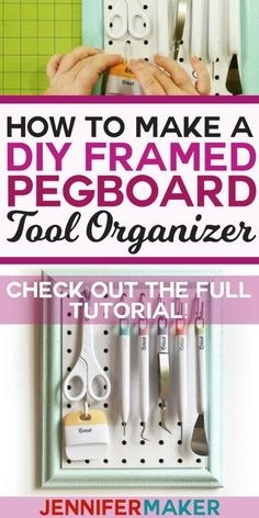 DIY Craft Tool Organizer on a Portable Framed Pegboard . - DIY Craft Tool Organizer on a Portable Framed Pegboard - Diy Crafts Tools, Craft Tutorials, Crafting Tools, Clay Crafts, Kid Crafts, Preschool Crafts, Sewing Crafts, Diy Projects, Pegboard Organization