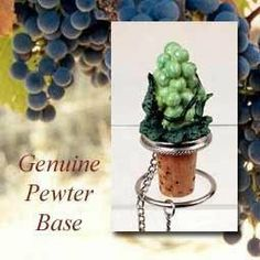 """Green Grapes Wine Bottle Stopper MTB02 by Conversation Concepts. $12.95. Wine Safe Cork. Conversation Concepts Gtrrn Grapes Wine Stopper. Top any standard wine or liquor bottle with our specialty themed bottle stopper! Each base is made from genuine pewter for that special touch of class, with each individual sculpture being meticulously handpainted in unparalleled detail. Each bottle stopper arrives with its own velvet drawstring pouch making it an ideal gift! Appx. 3"""" to 4"""" tall"""