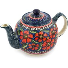 Polmedia Polish Pottery 34 oz Stoneware Tea or Coffee Pot H7700C Hand Painted from Zaklady Ceramiczne in Boleslawiec Poland Shape S301BGU596 Pattern P4803A150ART Unikat * Click the pottery image for detailed description