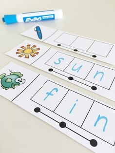 These CVC word strips encourage students to say the sounds of a CVC word fluidly – they slide their finger Guided Reading Lesson Plans, Guided Reading Activities, Guided Reading Levels, Kindergarten Lesson Plans, Kindergarten Reading, Kindergarten Activities, Teaching Reading, Learning, Preschool