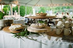Pie and Coffee Station at Wedding, buy Purple Onion Catering Co.  Tiana Simpson Photography - Kris