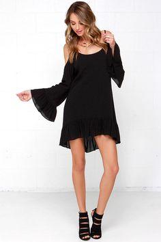 Dee Elle Go Time Black Off-the-Shoulder Dress at Lulus.com!