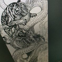 How To Leave Dragon And Tiger Tattoo Without Being Noticed - Dragon Tiger Tattoo, Dragon Tattoo Drawing, Tiger Tattoo Sleeve, Tattoo Drawings, Body Art Tattoos, Tiger Dragon, Tattoo Ink, Arm Tattoo, Asian Tattoo Sleeve