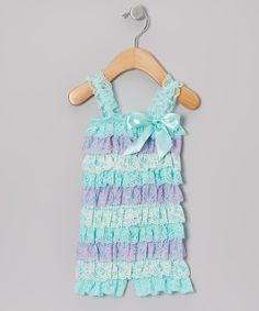 Take a look at this Aqua Carousel Dreams Ruffle Romper - Infant, Toddler & Girls on zulily today!