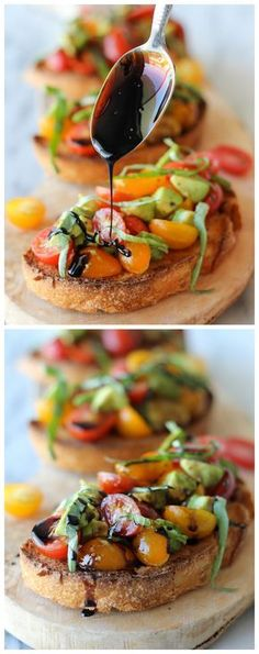Avocado Bruschetta with Balsamic Reduction - With ripe avocado and juicy grape tomatoes, this is the perfect midday treat or party snack! With ripe avocado and juicy grape tomatoes, this is the perfect midday treat or party snack! I Love Food, Good Food, Yummy Food, Vegan Recipes, Cooking Recipes, Sweet Recipes, Snacks Für Party, Lunch Party Ideas, Tapas Party