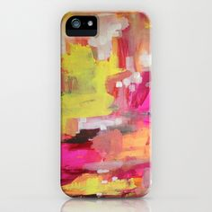 """I Want Candy"" neon pink and happy yellow iPhone Case"