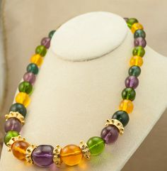 Necklace of Large Colorful Lucite Bead and by DianaKirkpatrickArt