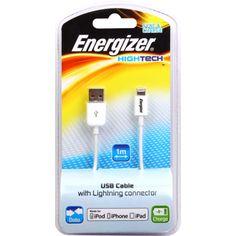 "Câble USB blanc charge&data ""HighTech"" pour iPhone 5/5S/5C"