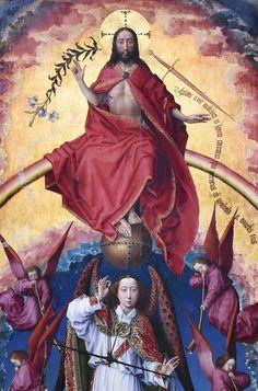 Ο Χριστός και ο Αρχάγγελος Μιχαήλ ορίζουν την μοίρα των ανθρώπων κατά την Ημέρα της Κρίσης.