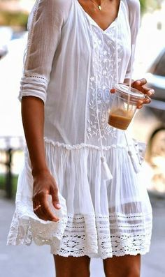white embroidered cotton dress // perfect for summer find more women fashion on misspool.com