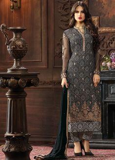 Subtle black colour embroidered #Georgette #SalwarSuit