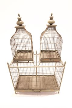 Good things come in pairs. Connected vintage Use to house the natural from birds of a feather to plants. Available for rent through HD Loft Studios' prop collection. Antique Bird Cages, Prop House, The Caged Bird Sings, Loft Studio, Cute Birds, Exotic Birds, Bird Feathers, Beautiful Birds, Bird Houses