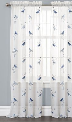Blue Elena Curtain Panel - Set of Two